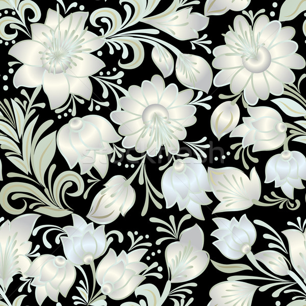 abstract vintage seamless white floral ornament isolated on a bl Stock photo © lem