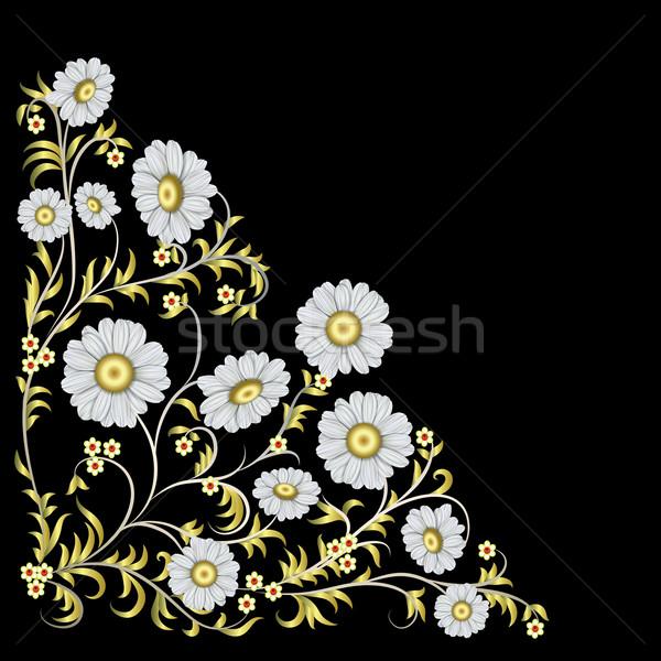 Absztrakt virágmintás dísz izolált fekete háttér Stock fotó © lem