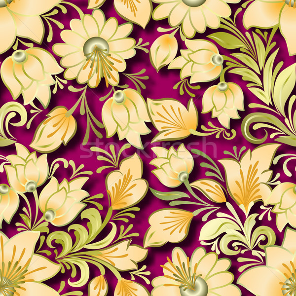 abstract vintage seamless floral ornament Stock photo © lem