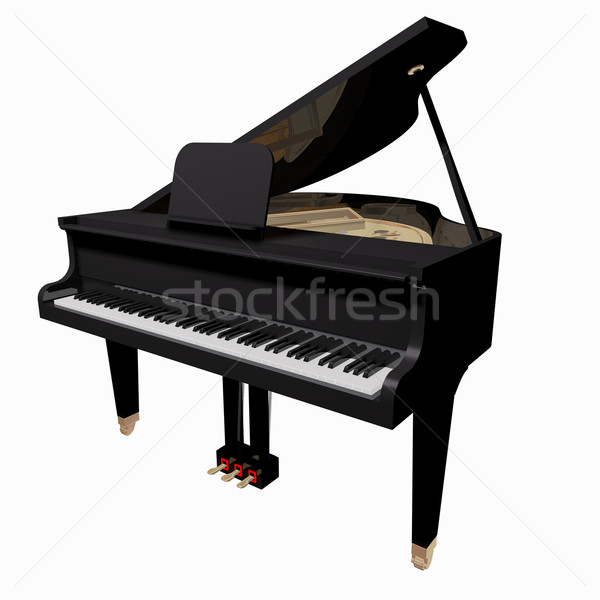 Stock photo: Grand-piano isolated on a white background
