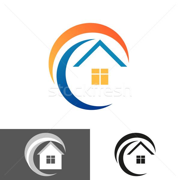 Huis home logo icon gebouw werk Stockfoto © lemony