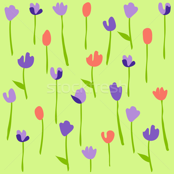 Seamless floral pattern with tulips Stock photo © lemony