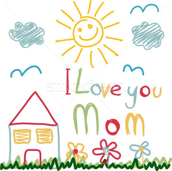 Moeders dag kaart kind bloem voorjaar Stockfoto © lemony