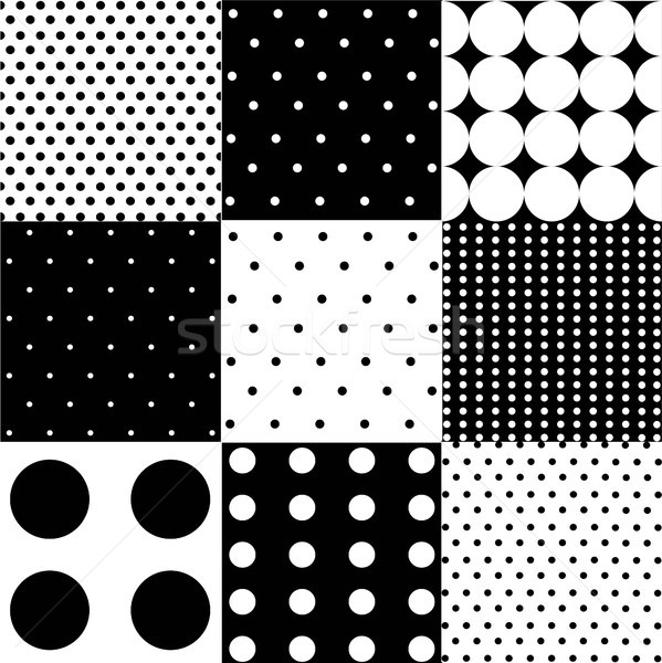 Seamless black, white vector pattern or background set with big and small polka dots Stock photo © lemony