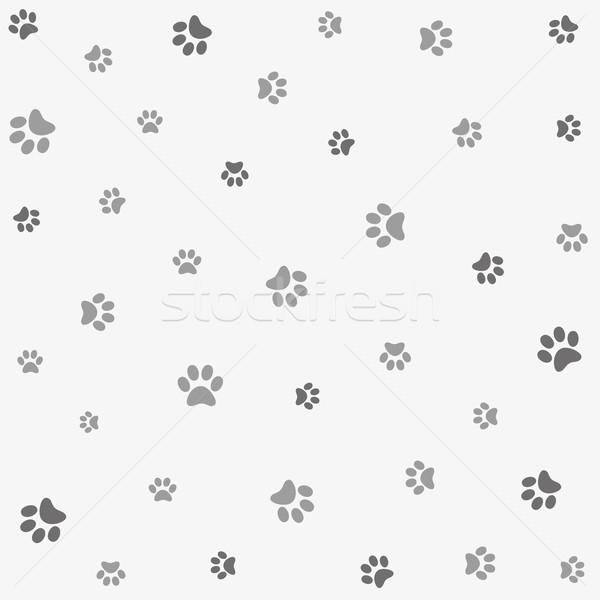 бесшовный животного шаблон лапа след текстуры Сток-фото © lemony