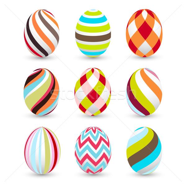 Paskalya yumurtası Paskalya doku soyut dizayn imzalamak Stok fotoğraf © lemony