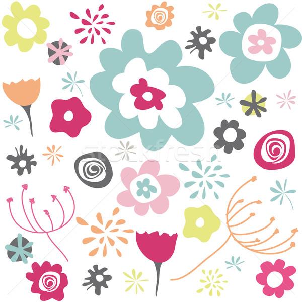 Stock photo: Seamless floral pattern, wallpaper
