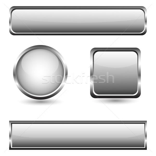 Gris verre boutons chrome cadre internet Photo stock © lemony