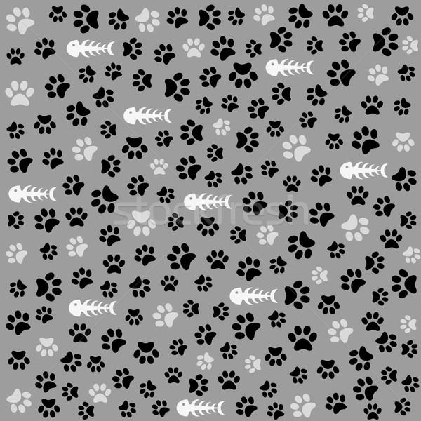 Sin costura animales patrón pata huella gato Foto stock © lemony