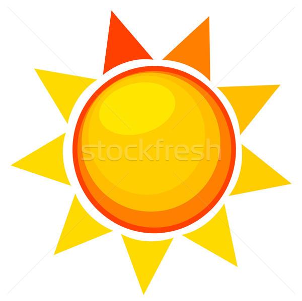 Zon icon silhouet kleur cool hot Stockfoto © lemony