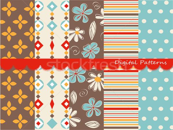 Digital padrões recados conjunto papel textura Foto stock © lemony