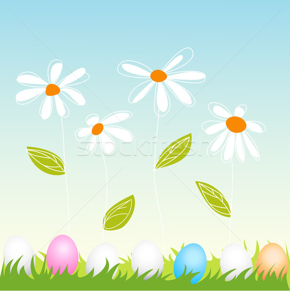 floral, easter greeting card Stock photo © lemony