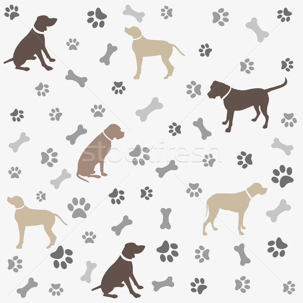 Background with dogs paw print and bone Stock photo © lemony