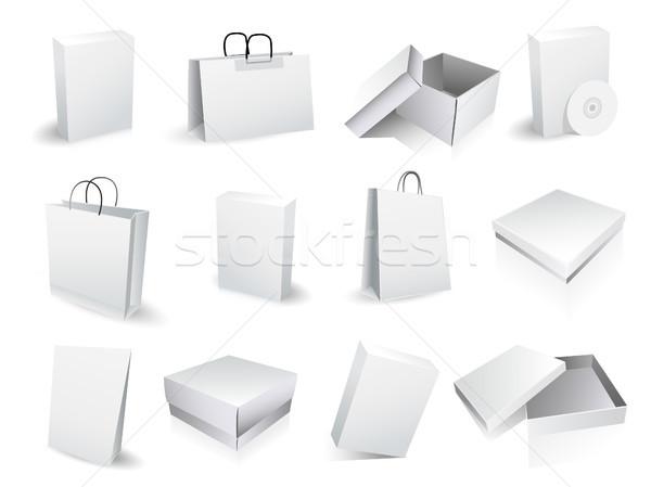 Kutuları kâğıt soyut dizayn kırmızı Stok fotoğraf © lemony