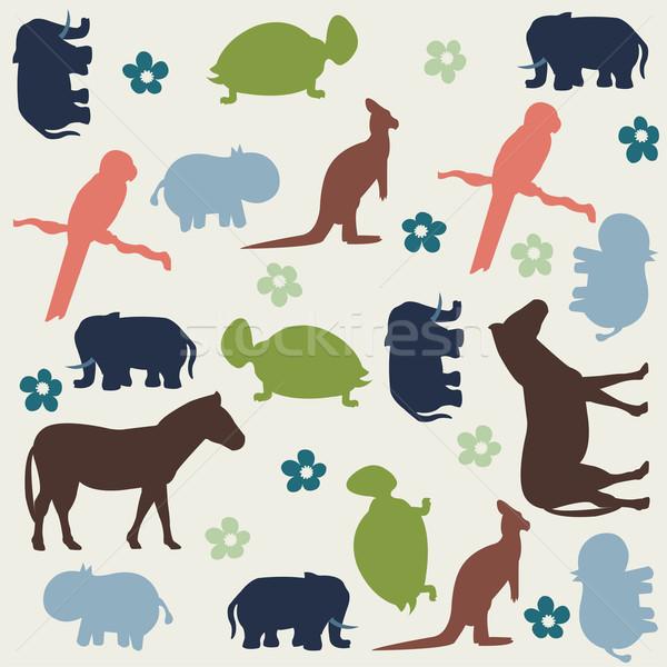 Seamless animal pattern for kids Stock photo © lemony