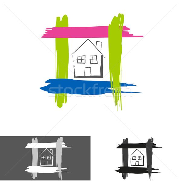 Ev ev logo ikon kâğıt Bina Stok fotoğraf © lemony