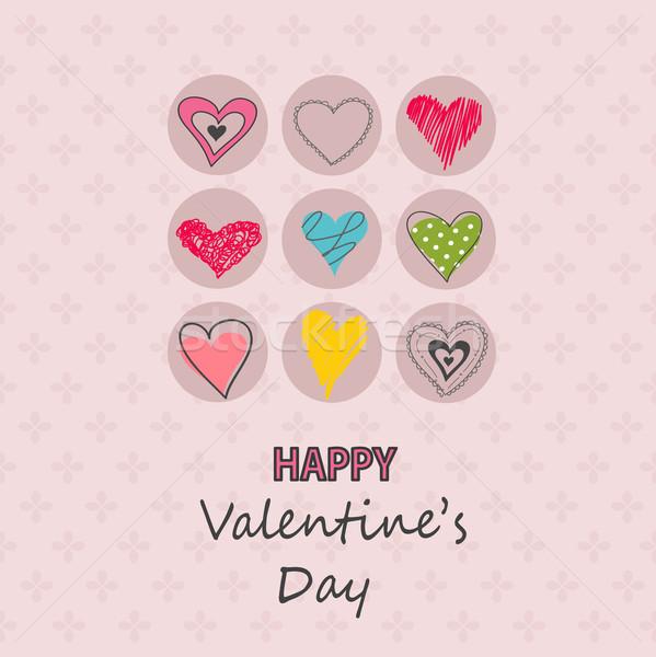 Valentijnsdag kaart bruiloft liefde gelukkig verf Stockfoto © lemony