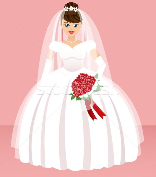 Düğün gelin gülümseme moda dizayn arka plan Stok fotoğraf © lemony