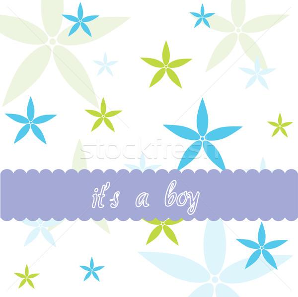 Patroon baby jongen aankomst kaart Stockfoto © lemony