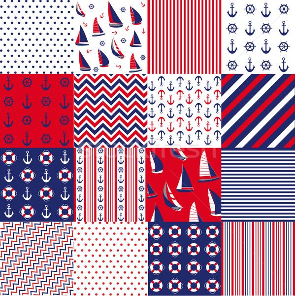 Seamless pattern with nautical elements Stock photo © lemony
