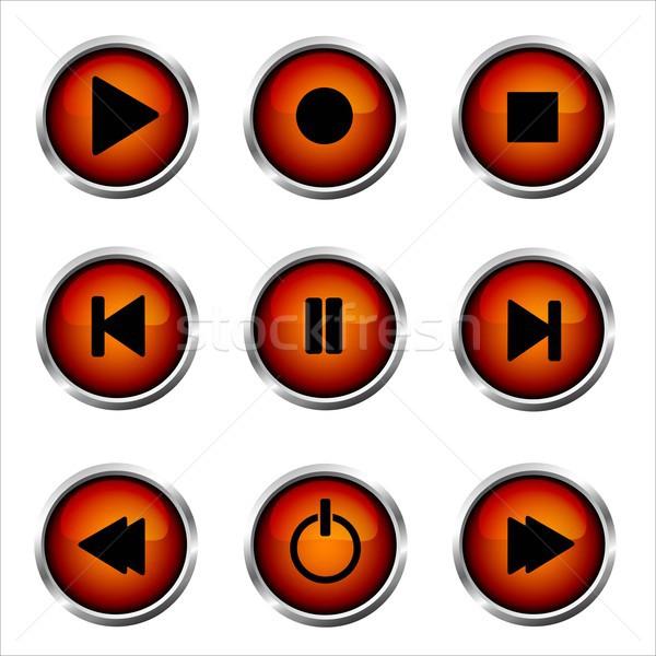 Set of media buttons Stock photo © lemony