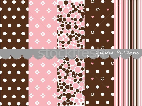 Digital padrões recados conjunto papel abstrato Foto stock © lemony