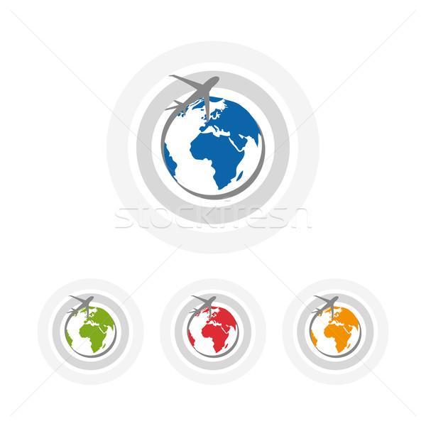 Iş simgeler dizayn harita soyut düzlem Stok fotoğraf © lemony