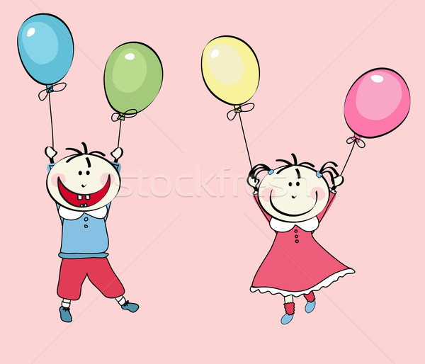 happy little boy and little girl flying with the balloons Stock photo © lemony