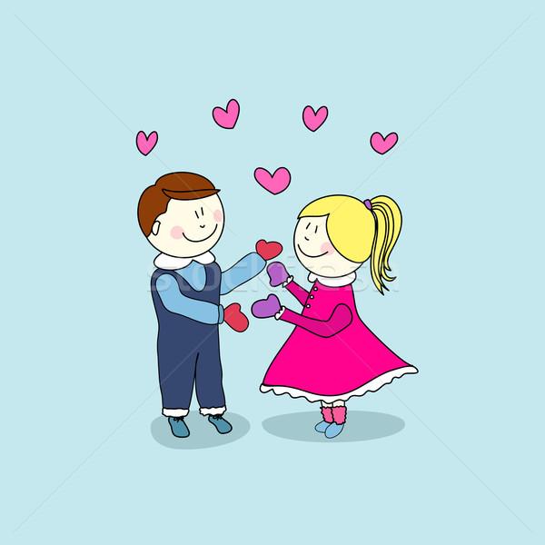 Jongen meisje gelukkig valentijnsdag kunst Rood Stockfoto © lemony