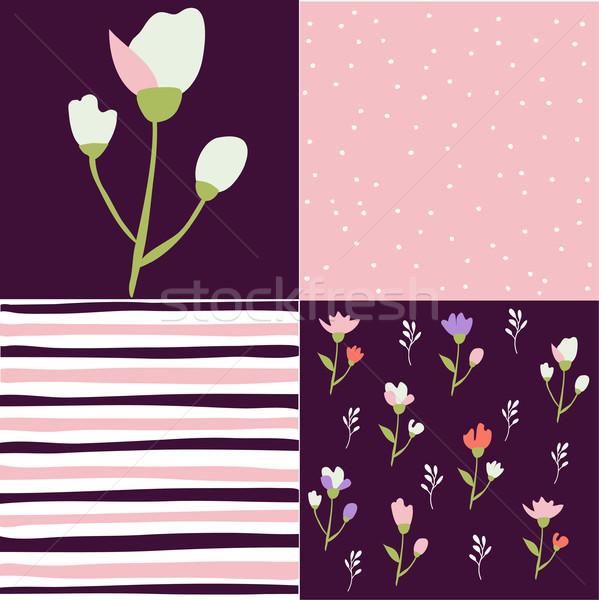 Ingesteld patroon bloem papier textuur Stockfoto © lemony
