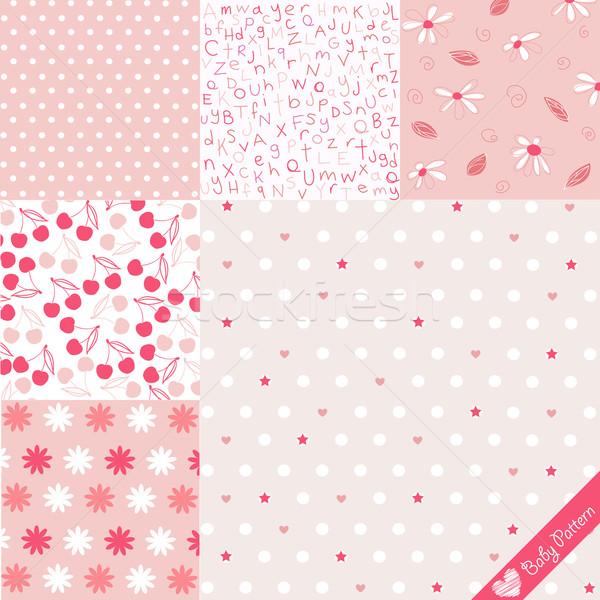Baby patroon ingesteld meisje textuur liefde Stockfoto © lemony
