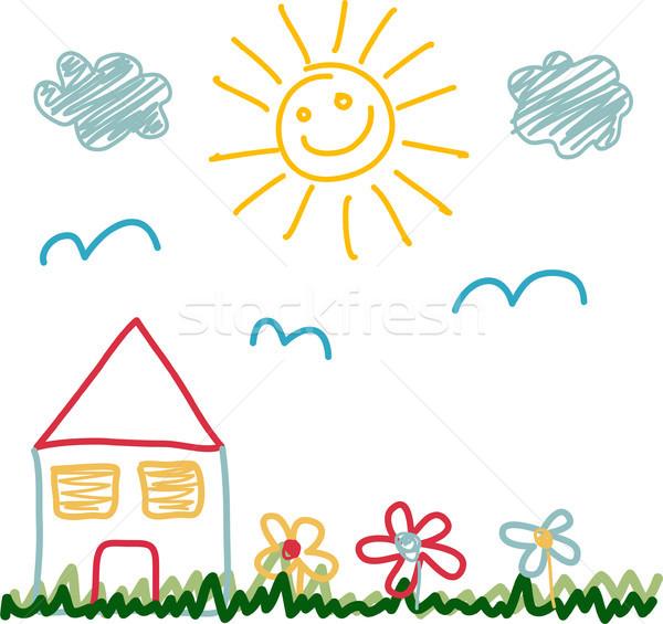 Kinderen tekening huis boom wolken Stockfoto © lemony