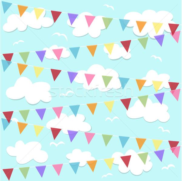 Buli égbolt boldog születésnap zászló légy Stock fotó © lemony