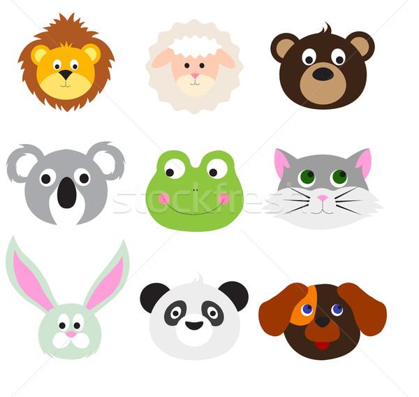 Animal Faces Set Stock photo © lemony