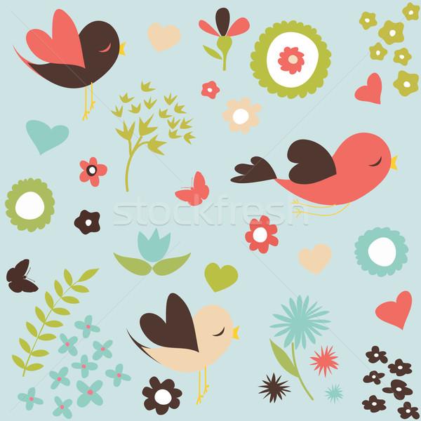 Vogels bloemen voorjaar liefde vlinder gelukkig Stockfoto © lemony