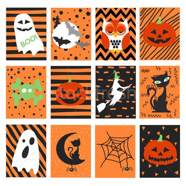 Halloween kartpostal mutlu çocuk dizayn yaprak Stok fotoğraf © lemony
