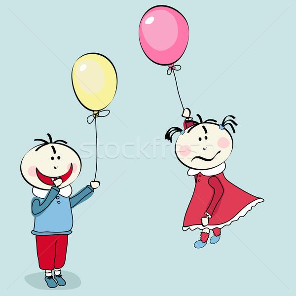 Mutlu küçük erkek küçük kız uçan balon Stok fotoğraf © lemony