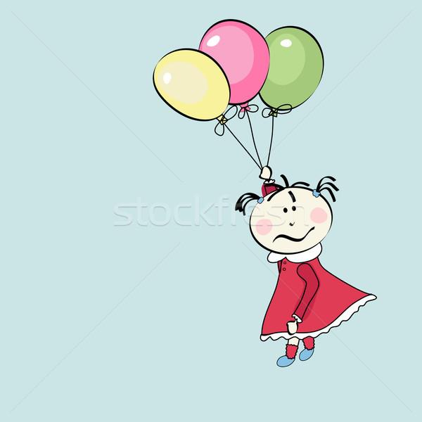 happy little girl flying with the balloons Stock photo © lemony
