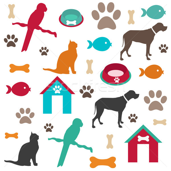Pet icons Stock photo © lemony