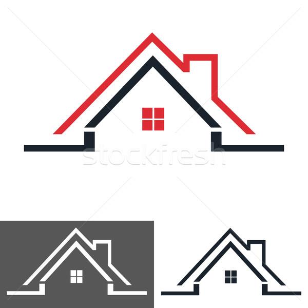 Ev ev logo ikon Bina çalışmak Stok fotoğraf © lemony