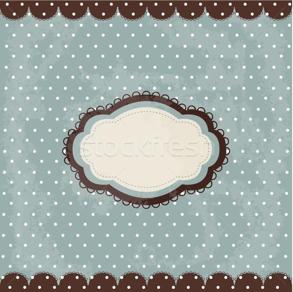 Klasszikus pötty terv barna keret buli Stock fotó © lemony