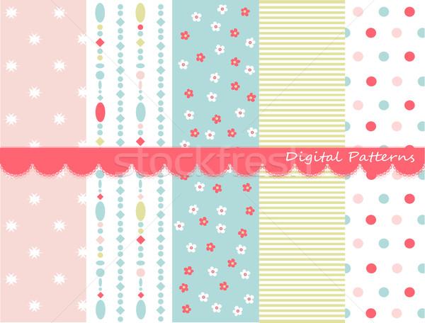 Digital padrões recados conjunto flores papel Foto stock © lemony