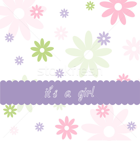 Floral pattern and Baby girl arrival card Stock photo © lemony