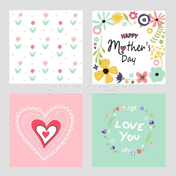 şablon kartları ayarlamak çiçek mutlu Stok fotoğraf © lemony