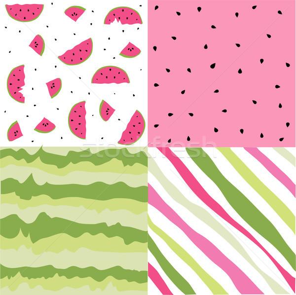 Seamless pattern with watermelon set, scrapbooking, summer digital paper watermelon set Stock photo © lemony