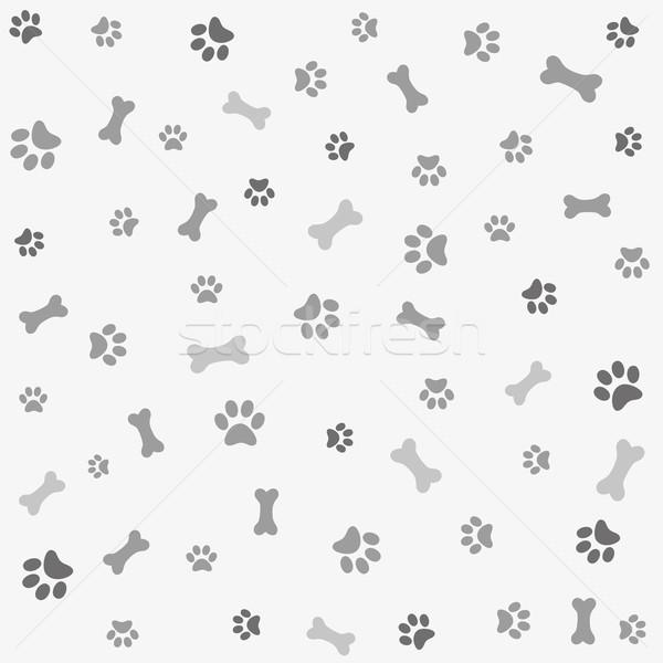 Perro pata impresión hueso papel tejido Foto stock © lemony