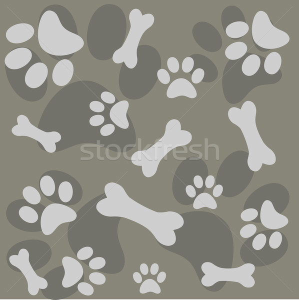 efb41dfd460b Background with dog paw print and bone vector illustration © DIDEM ...
