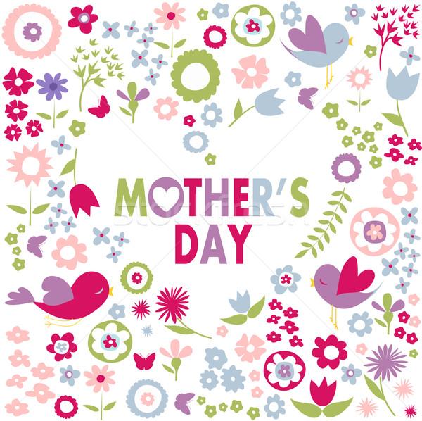Moeders dag wenskaart Pasen vrouw bloemen Stockfoto © lemony