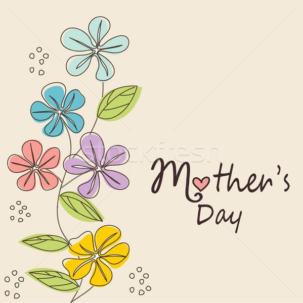 Moeders dag kaart vrouw bloemen gelukkig Stockfoto © lemony