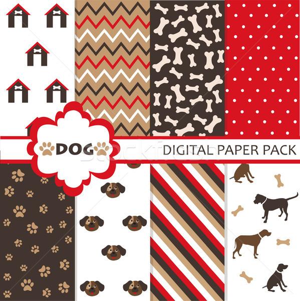 Köpek kâğıt ayarlamak kumaş alışveriş duvar kağıdı Stok fotoğraf © lemony